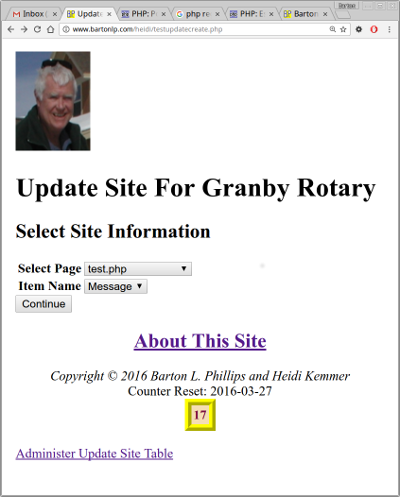 Screenshot of testupdatecreate.php